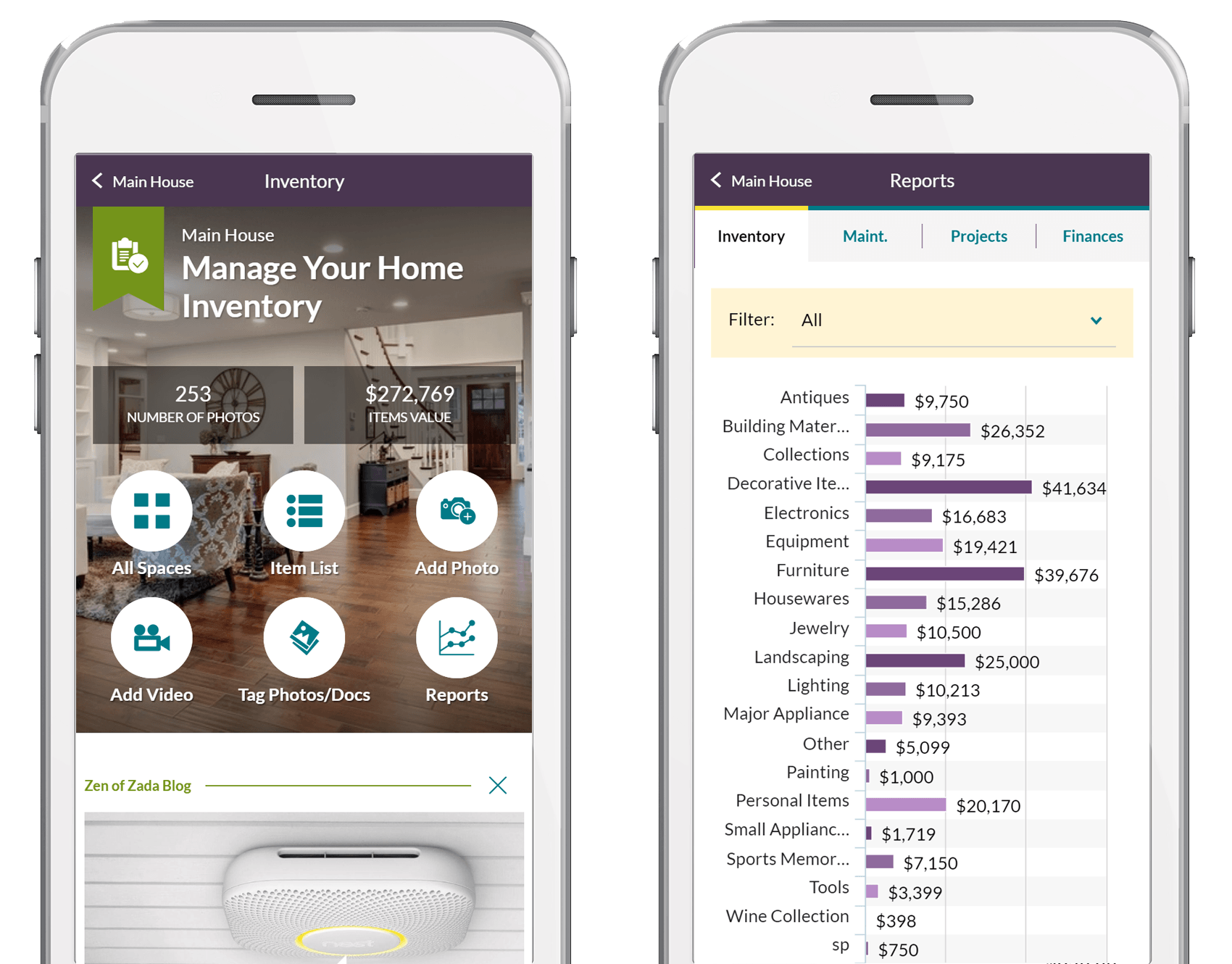 Home Inventory Dashboard and Reports