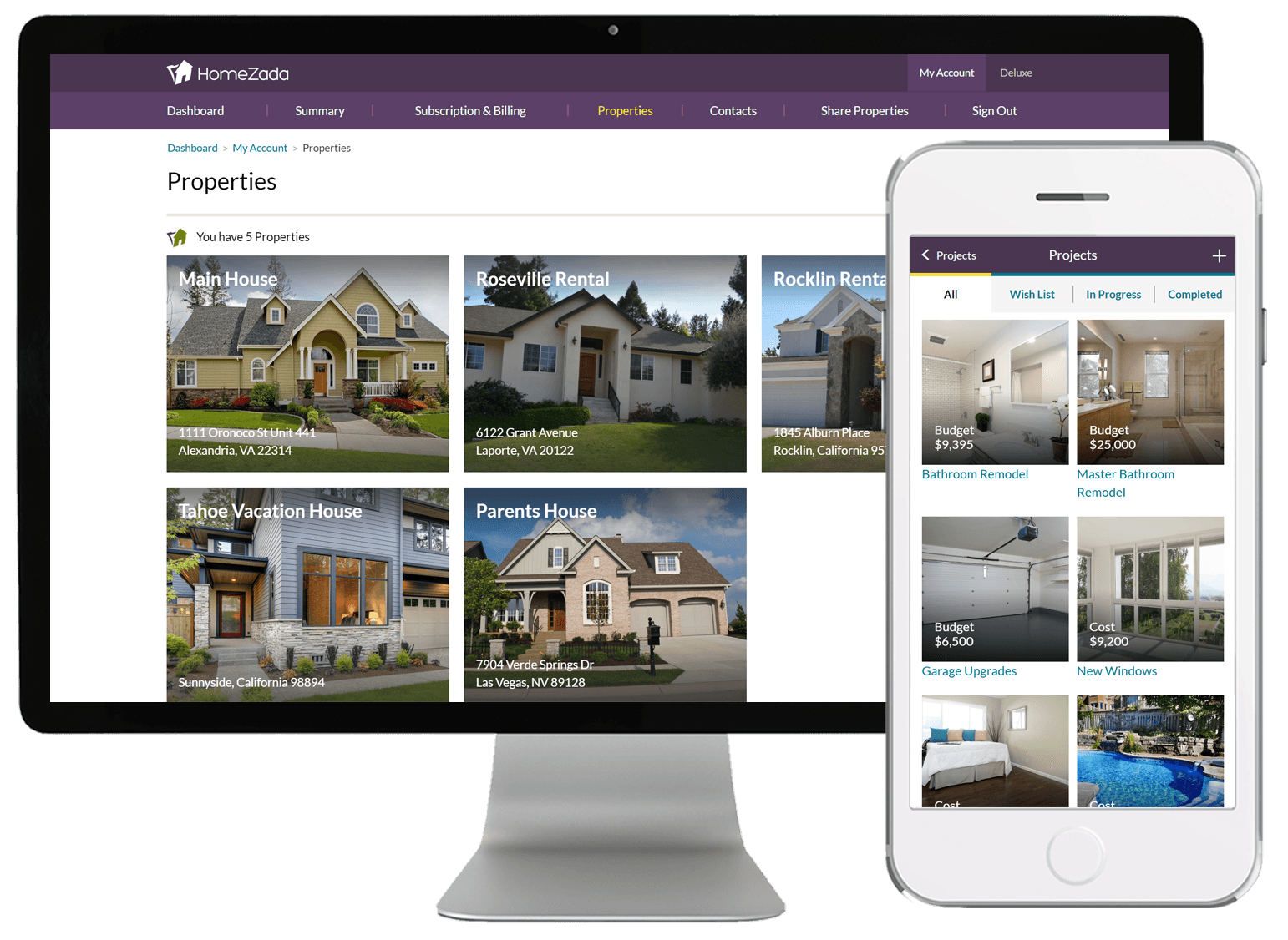 HomeZada multiple vacation properties