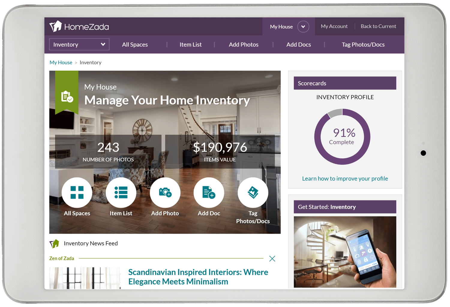 Home inventory dashboard
