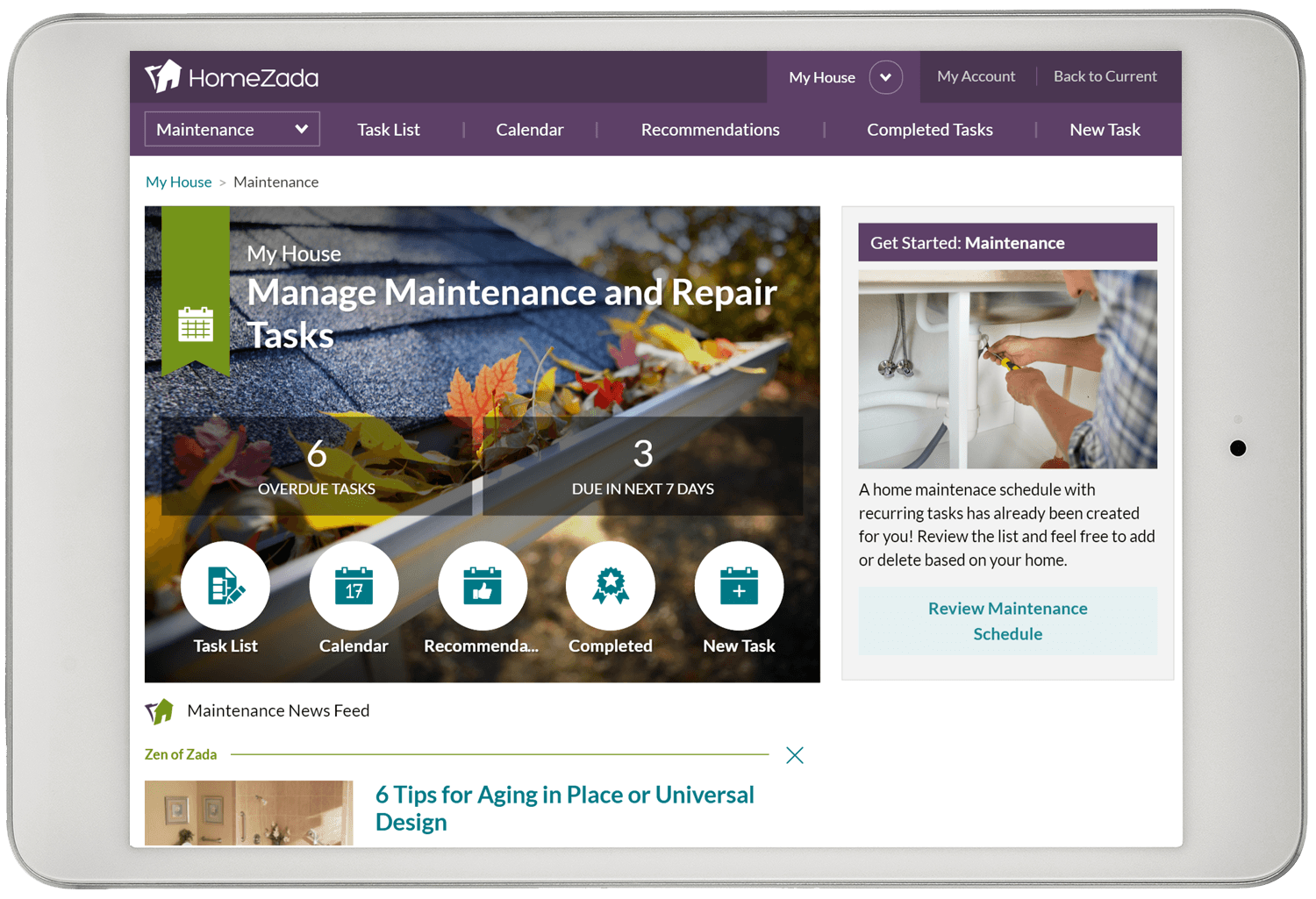 Home maintenance dashboard