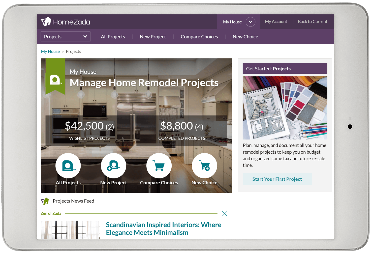 Home remodel projects dashboard