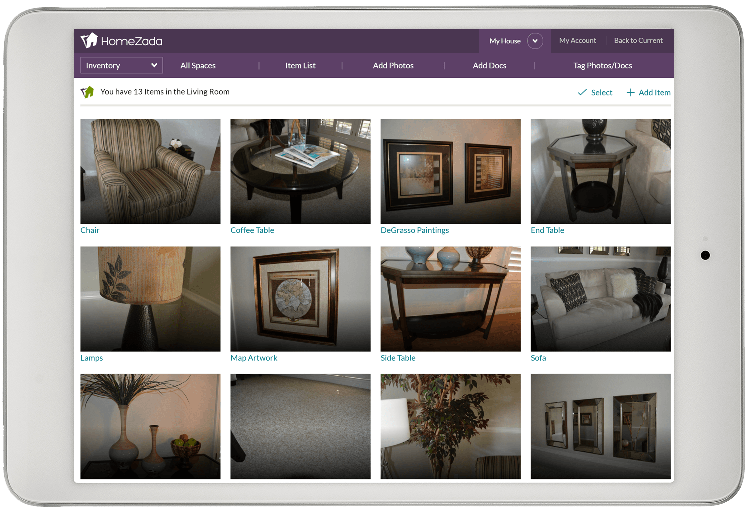 Homezada home inventory gallery of items