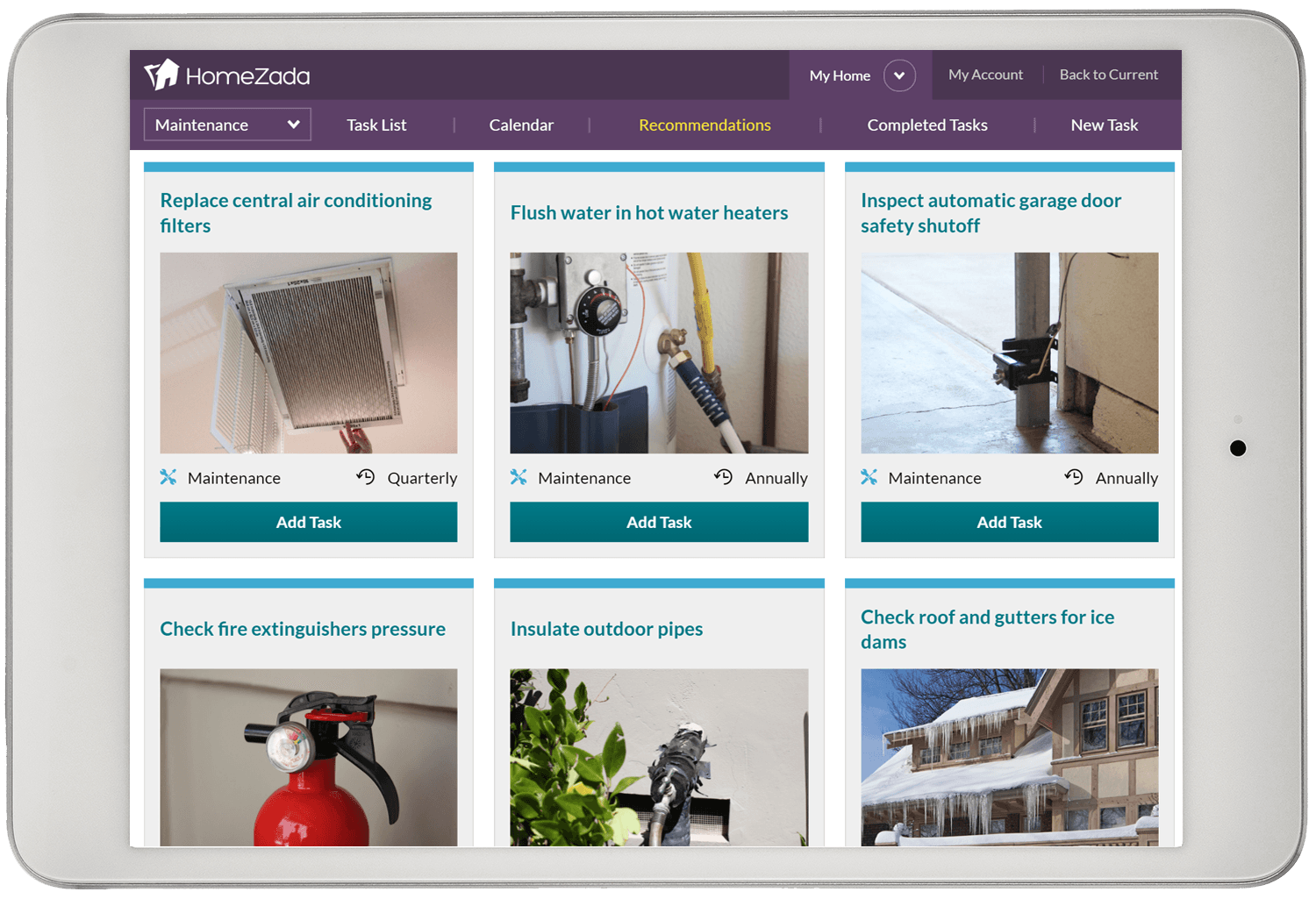 Homezada home maintenance recommendations