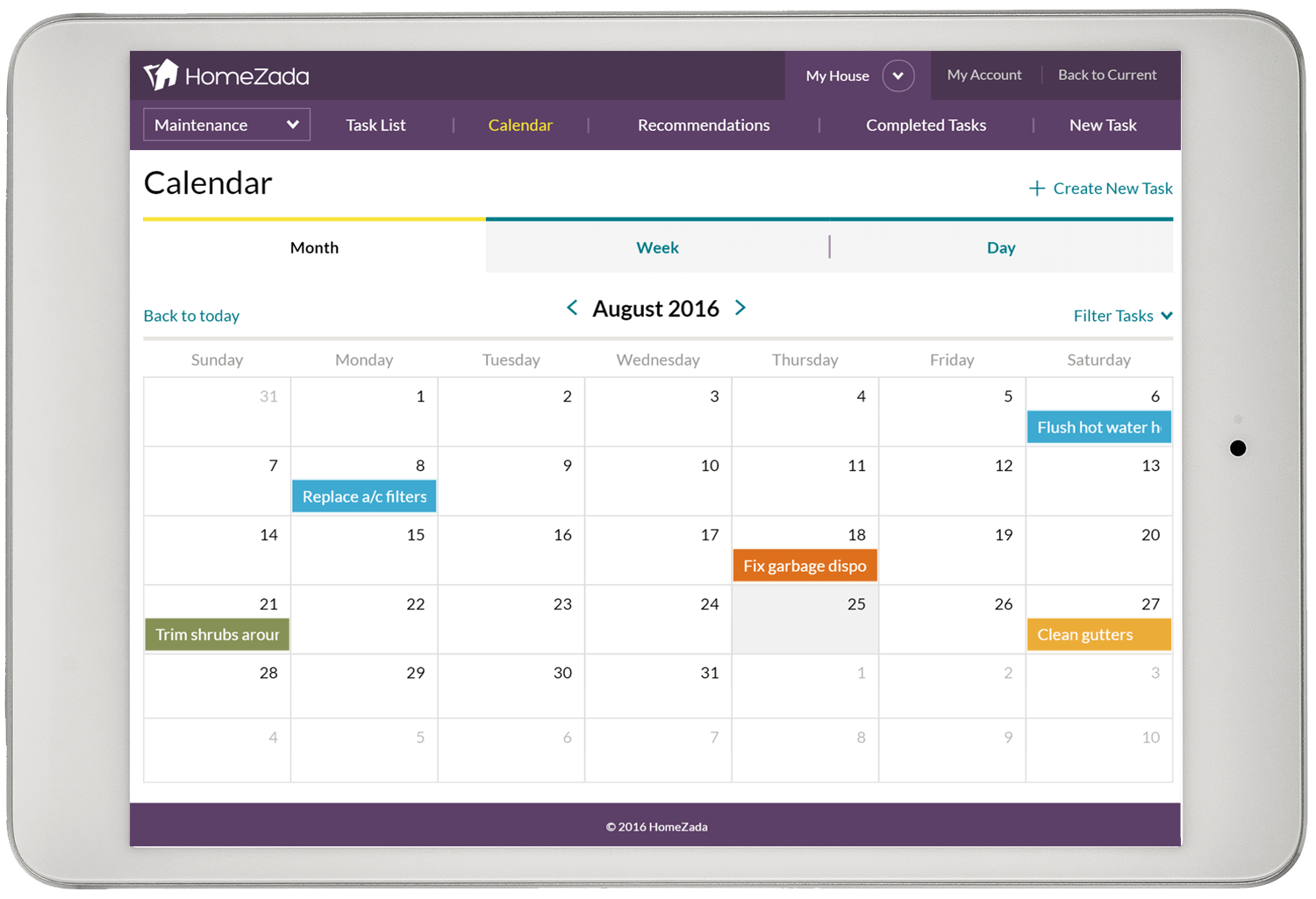 Home builder maintenance schedule and calendar screenshot