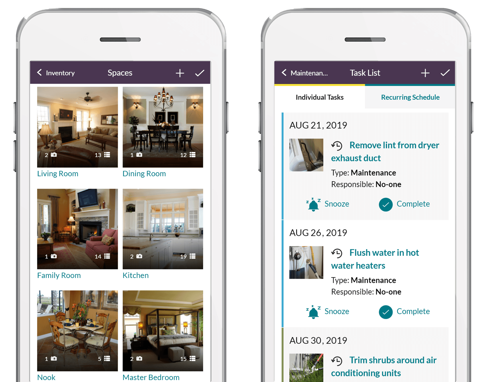 HomeZada multiple properties parents home