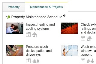 Home maintenance schedule on a real estate listing