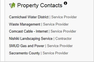 Property contacts on a real estate listing