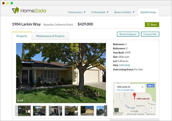 Sample zada real estate listing screenshot